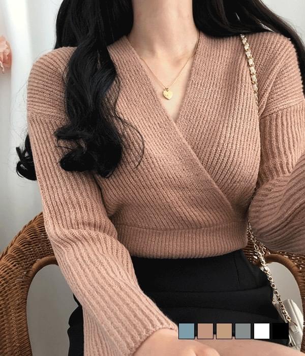 Neckline Pretty Ribbed Thick Wrap V Knitwear 針織衫