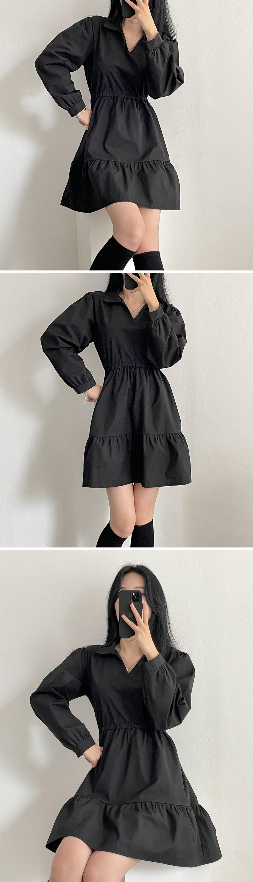 Shirt Collar Backstring Cancan Long Sleeve Mini Dress