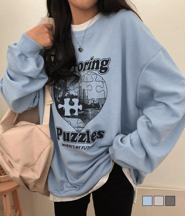 Puzzle Mirroring Loose-fit Sweatshirt (人氣商品配送延遲) 長袖上衣