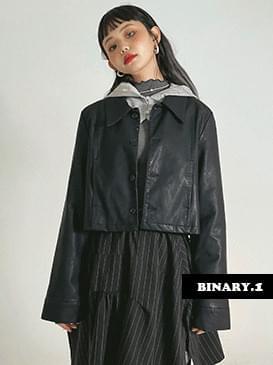 leather hake cropped jacket