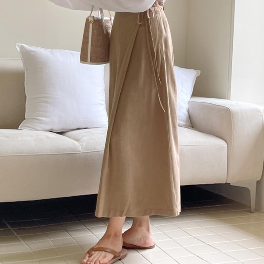 linen wrap midi skirt 裙子