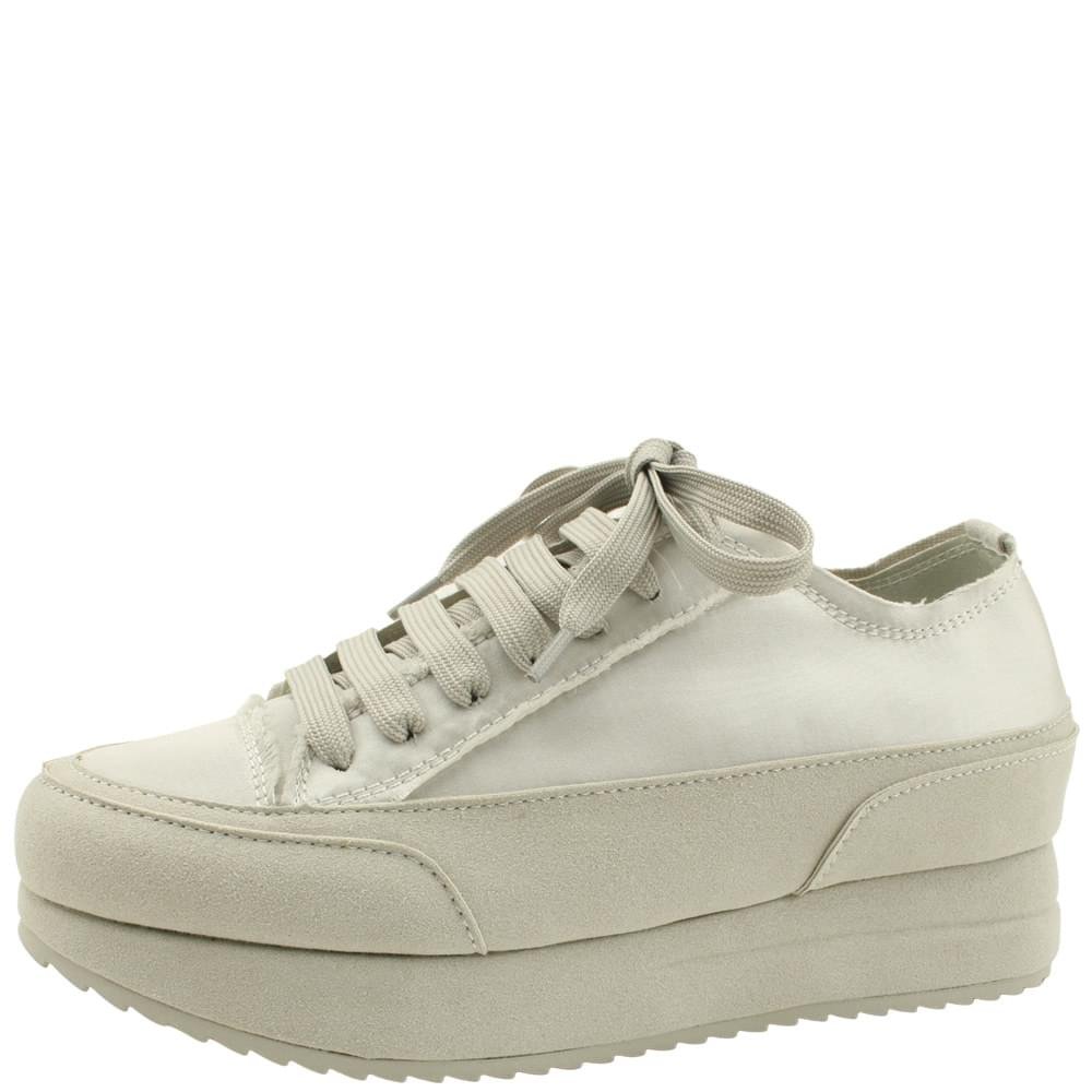 Satin Handmade Shoes Tall Sneakers Gray
