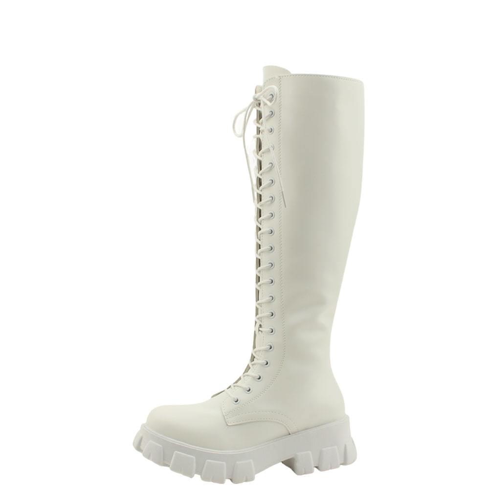 Walker Whole Heel Flat Thong Long Boots White