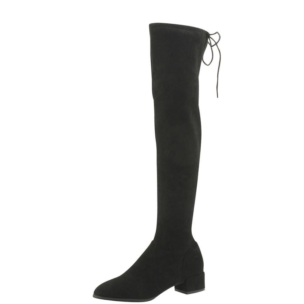 Spandex Slim Psy High Middle Heel Long Boots Black