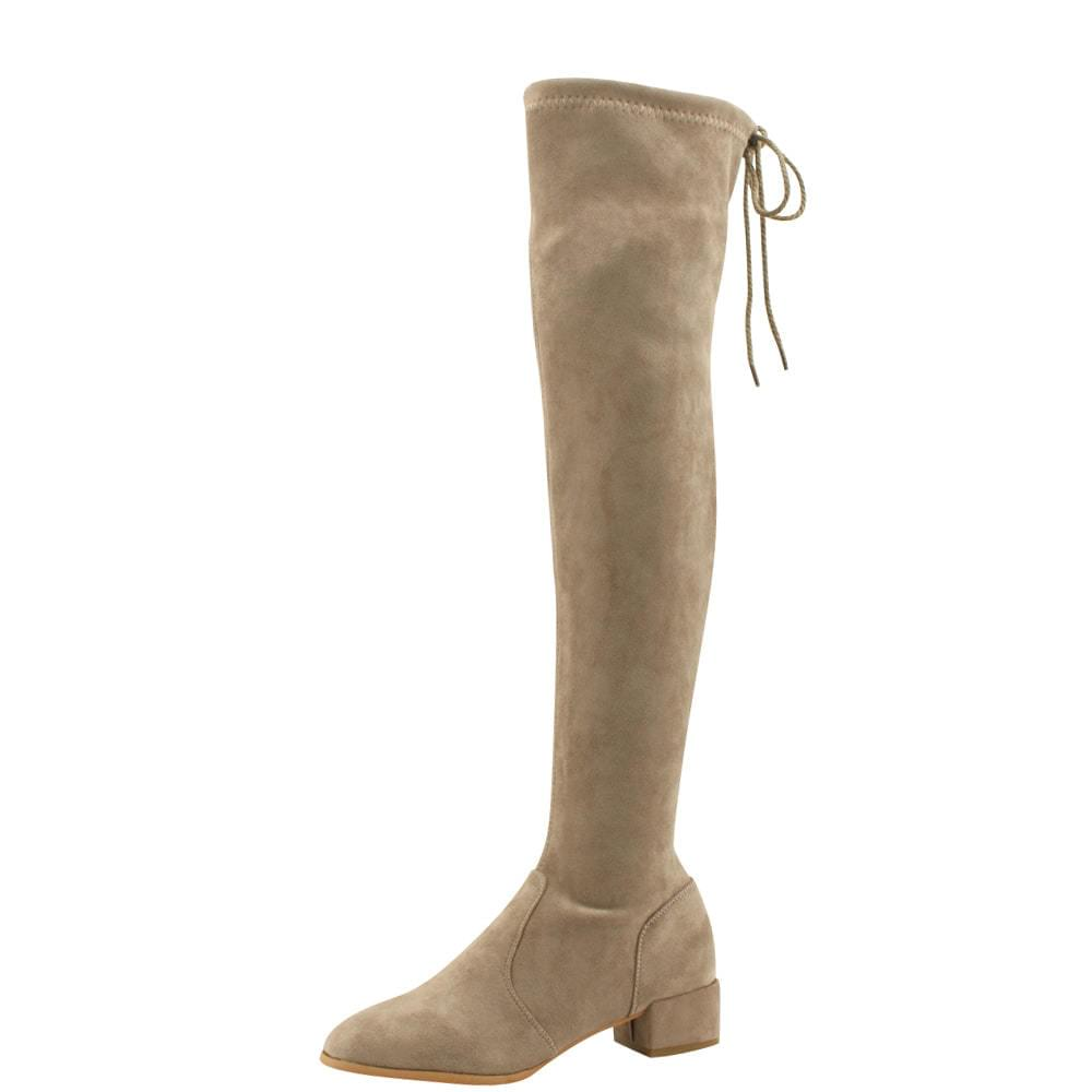 Spandex Slim Psy High Middle Heel Long Boots Beige