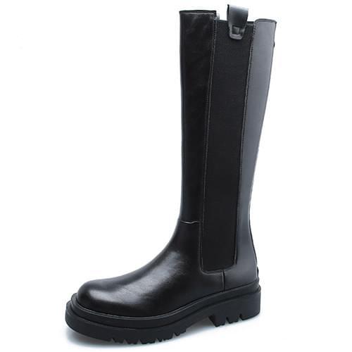 Chelsea Banding Platform Flat Walker Long Boots 5cm