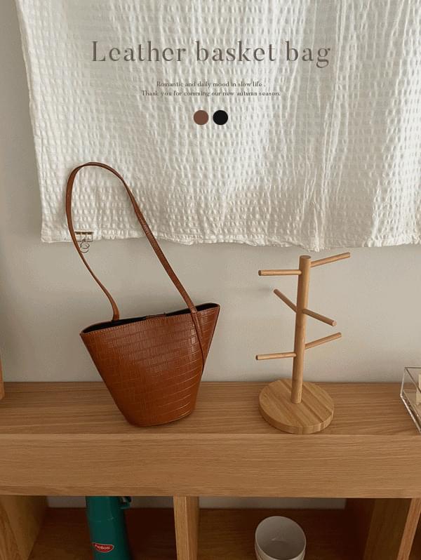 Leather basket bag - 2color