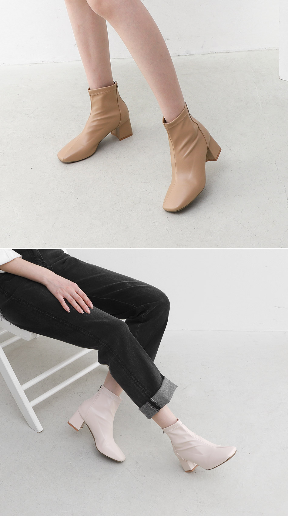 Square nose diagonal line middle heel back zipper ankle boots 11098 ♡ 2nd sold out♡