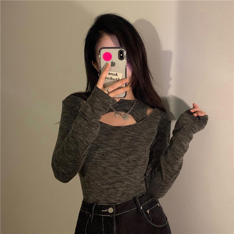 긴팔 티셔츠 모델 착용 이미지-S1L5