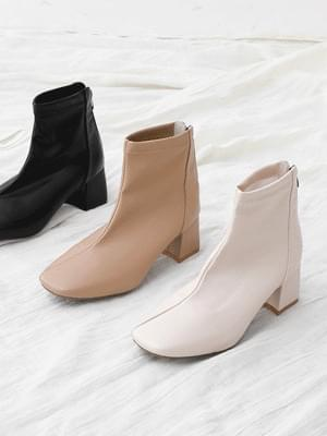 Square nose diagonal line middle heel back zipper ankle boots 11098