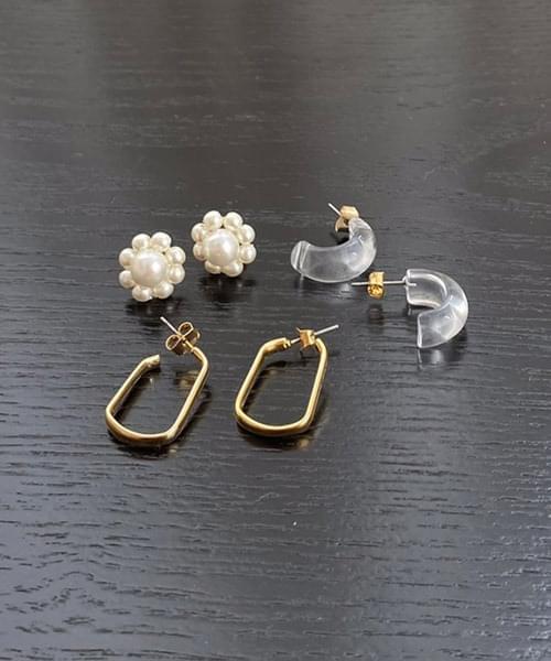 gold light earring set
