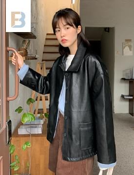 collar pocket leather short jacket