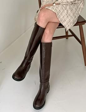 Basic Round Leather Long Boots