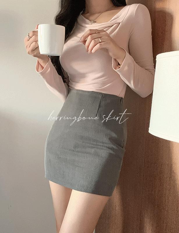pole herringbone mini skirt