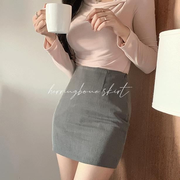 pole herringbone mini skirt (Delayed delivery)