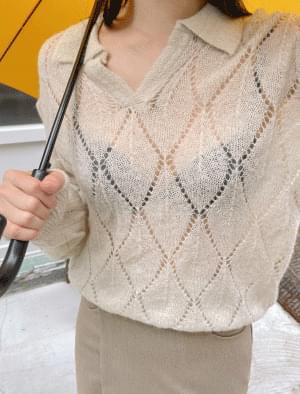Sweety Argyle Punching Wool Collar Knitwear
