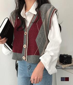 Redame Argyle Vintage Vest