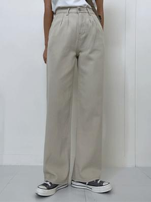 Almond Cotton Pintuck Wide Pants