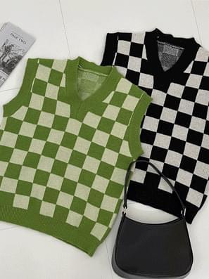 Coco Checkerboard Knitwear Vest