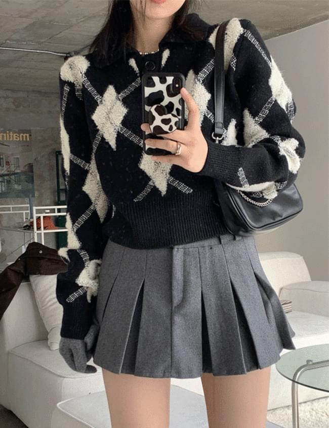 Black Argyle Collar Knitwear 針織衫