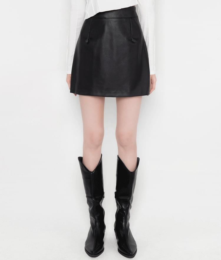 High Rise Leatherette Skirt
