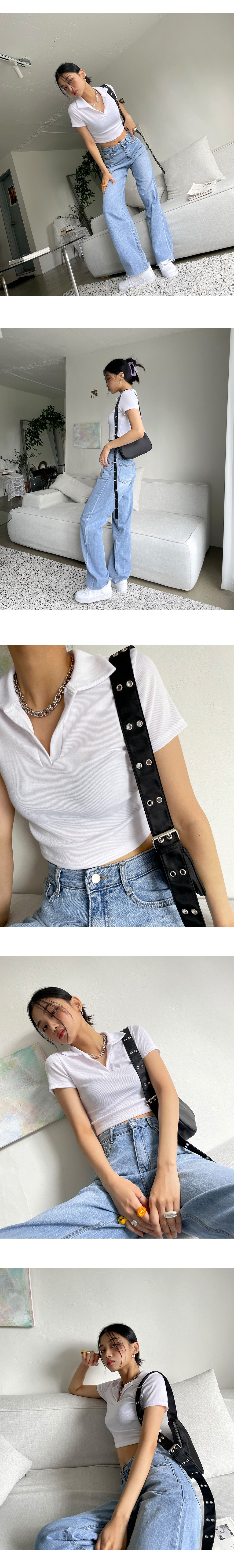 collared Ribbed cropped T-shirt
