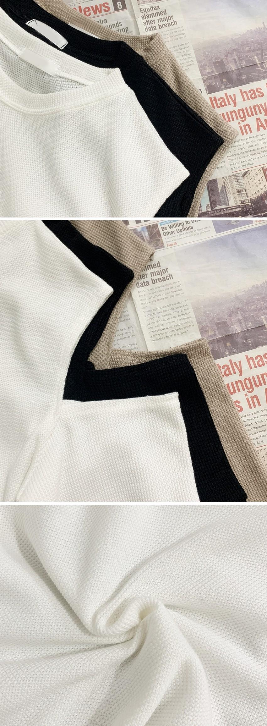 Waffle both shoulder slit long sleeve tee 3color