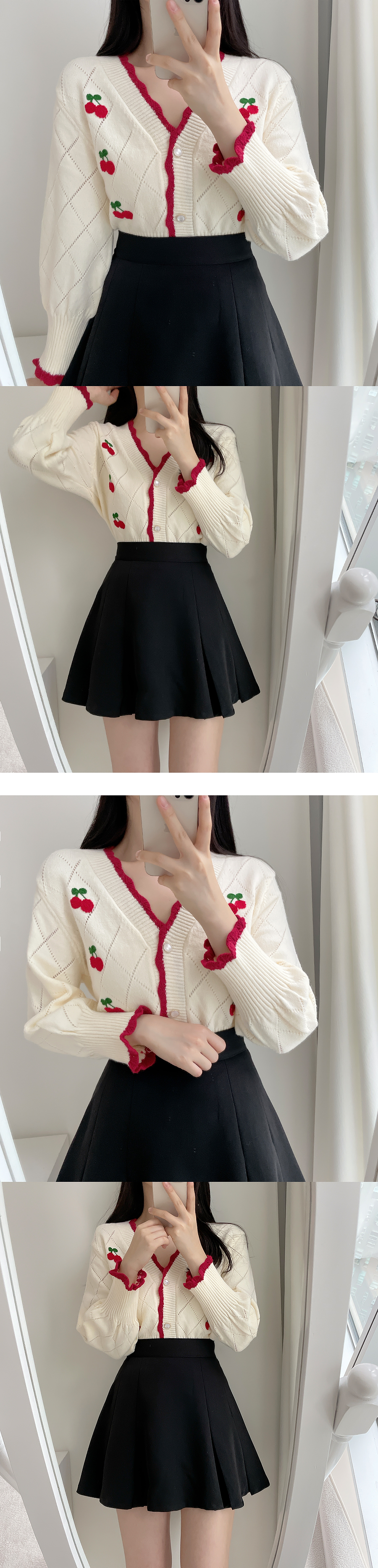 Cherry Embroidery Color Matching Knitwear Cardigan 2color