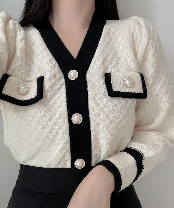 珍珠配色針織外套2色