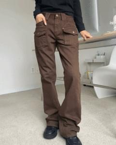 Vintage Low-Waist Pocket Flared Trousers
