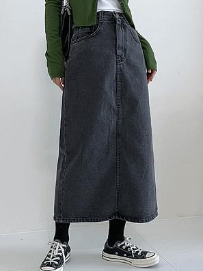 long deep denim back slit skirt