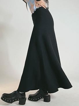 Plain Moet Knitwear Long Skirt
