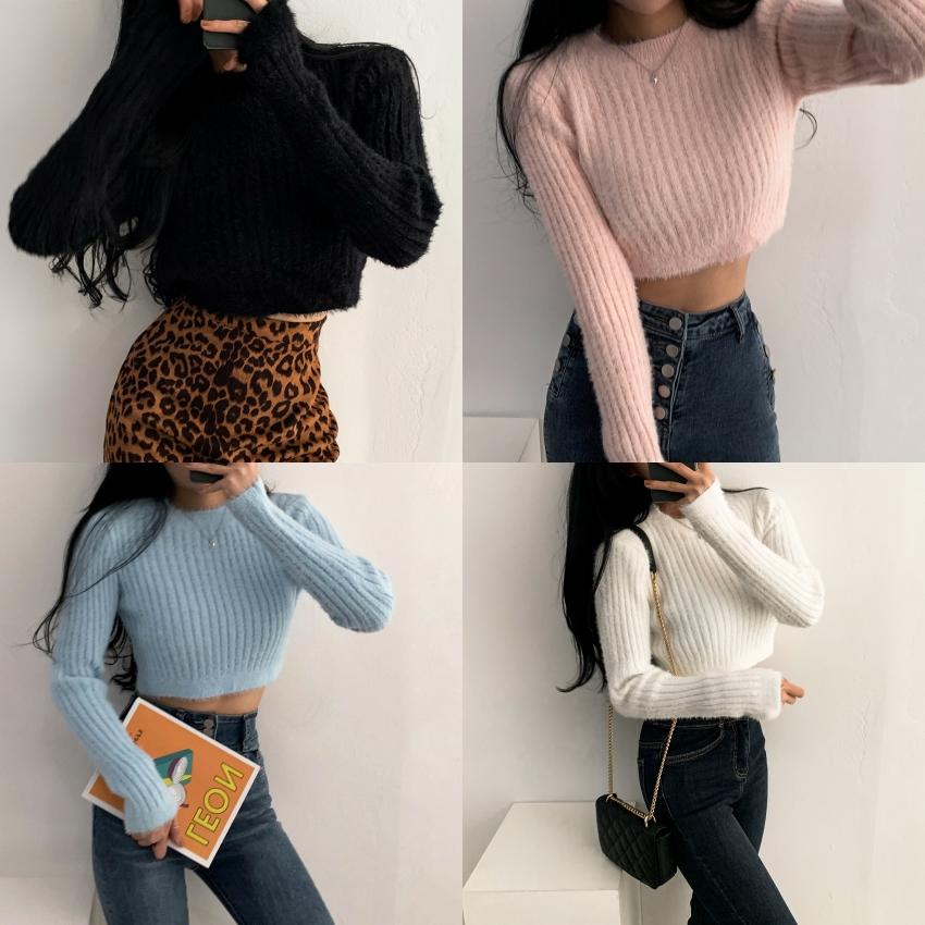Soft Angora Round Crop Knitwear
