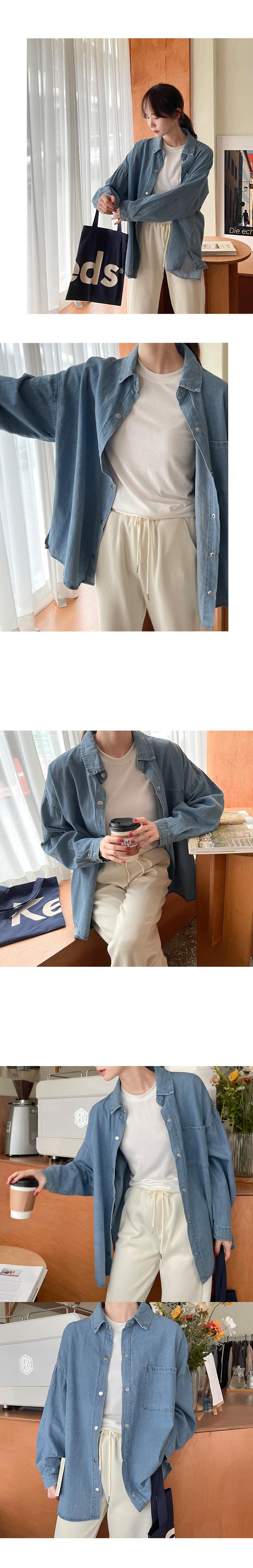 ボードカフェルーズフィットポケットデニムシャツ -  3color