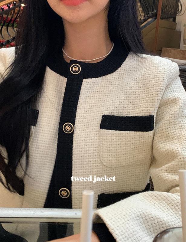 미쥬배색트위드 jacket