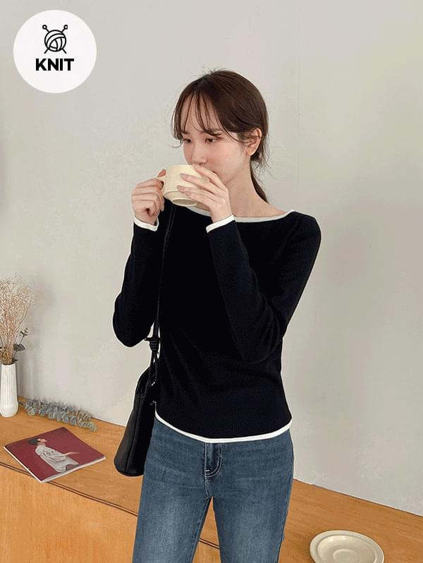Farewell Ending Boat Neck Color Long Sleeve Knitwear - 5color