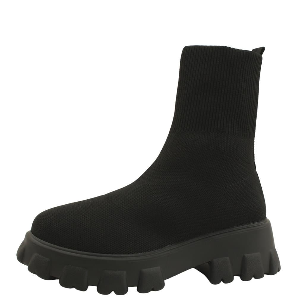 Platform Socks Knitwear Ankle Boots Black