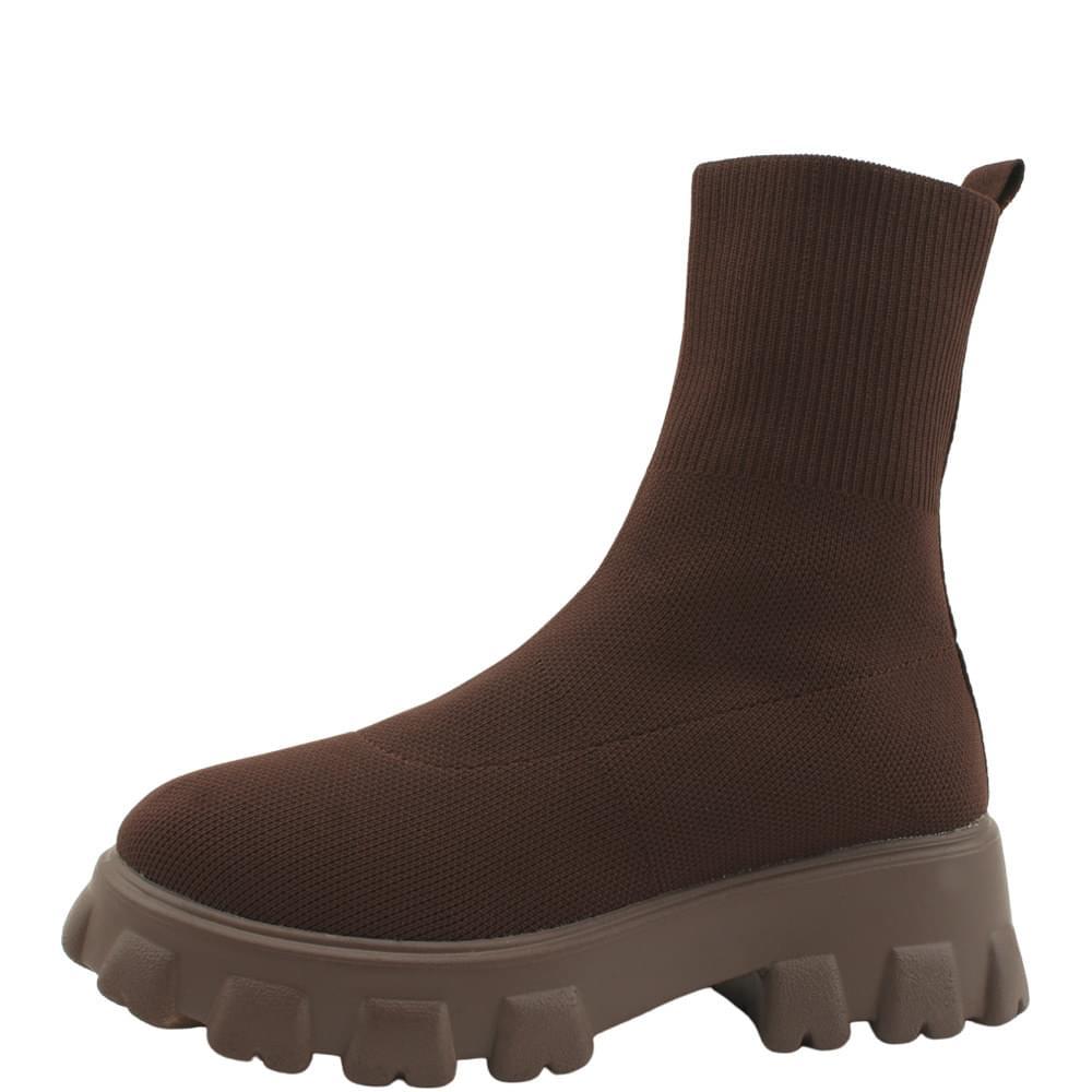 Platform Socks Knitwear Ankle Boots Brown