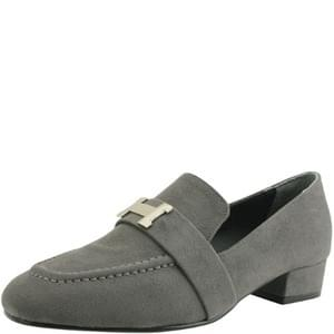 suede low heel loafers gray