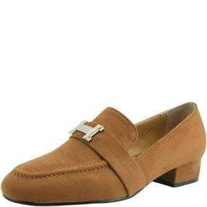 suede low heel loafers shoes brown