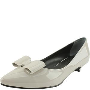 enamel ribbon stiletto low heel gray
