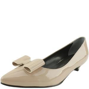 enamel ribbon stiletto low heel beige