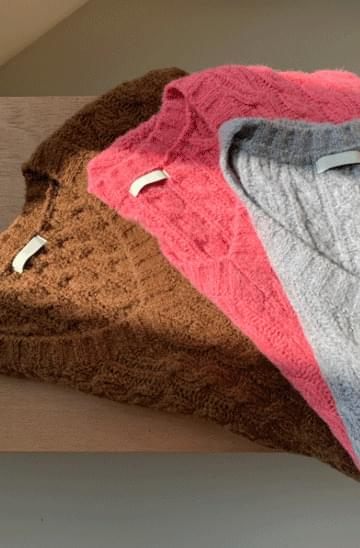 Plum Cable Wool Knitwear Vest