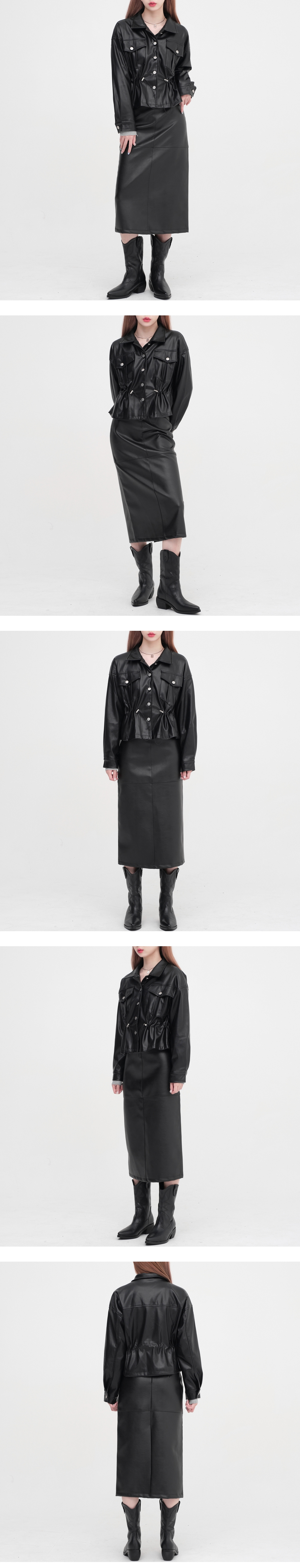 Eight Leather Long Skirt