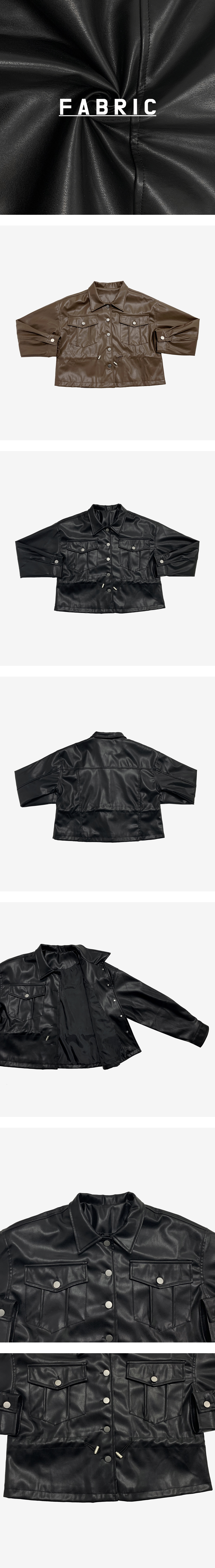 Luc string leather jacket