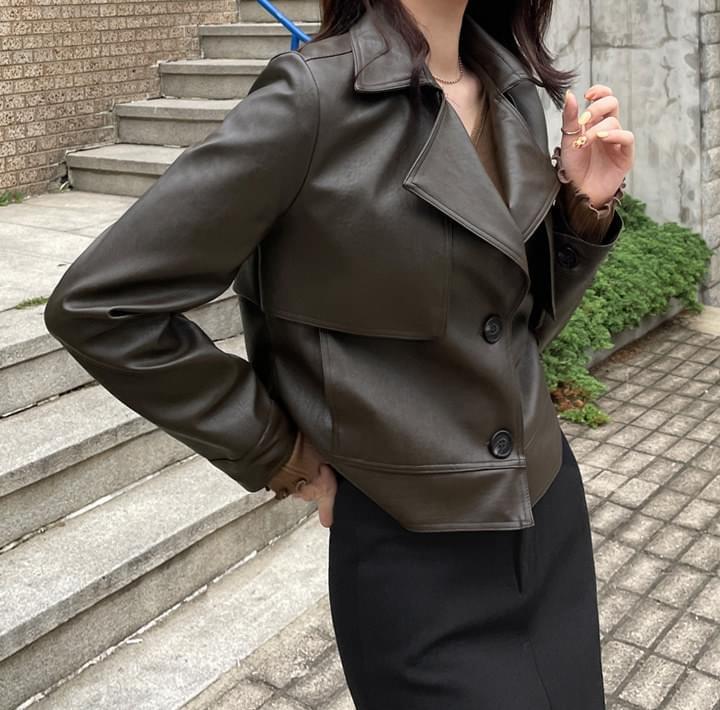 Flap Accent Faux Leather Jacket