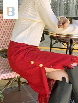 fringe button tweed skirt