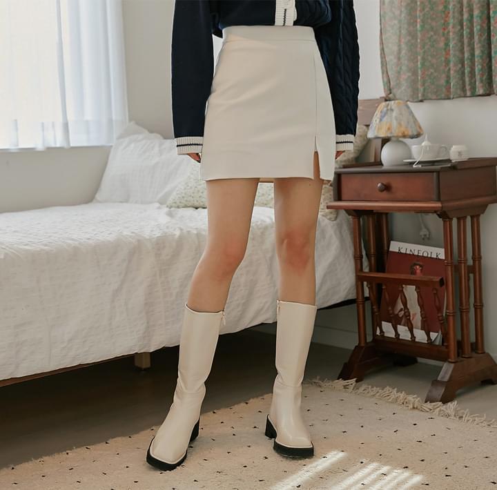 開衩設計側拉鍊褲裙