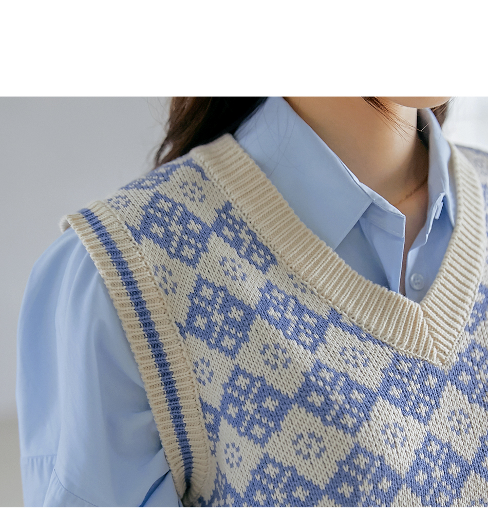 配色花紋V領針織背心