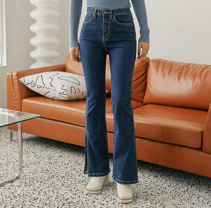 Side Slit Bootcut Jeans